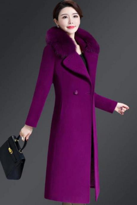 New 2019 Fashion Trench Coats for Women 5 Colors Wool Magenta Overcoat Purple Blazers for Women