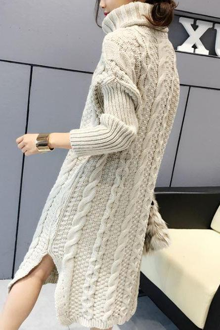 Turtleneck Dress Turtle Neck Sweaters New 2019 Fashion Knitted Long Sweater Dress Winter Dress Beige Dress