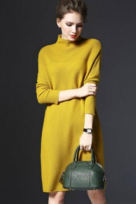 New 2019 Fashion Knitted Long Sweater Dress Winter Dress Yellow Dress Yellow Knitted Sweater with FREE Brooch