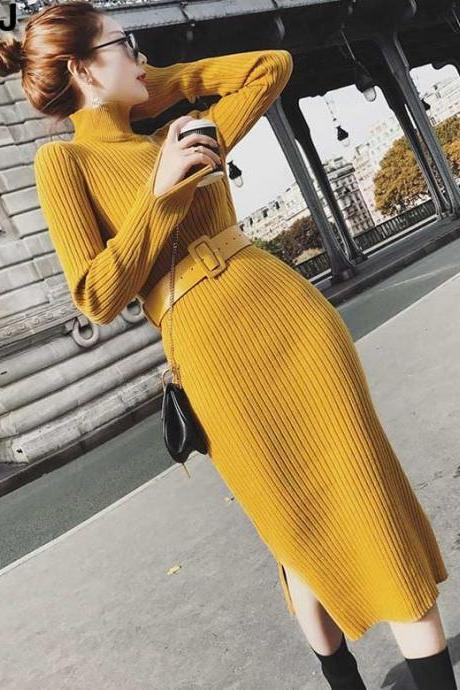 Turtleneck Yellow Knitted Sweater with FREE Yellow Belt New 2019 Fashion Knitted Long Sweater Dress Winter Thermal Dress Yellow Dress