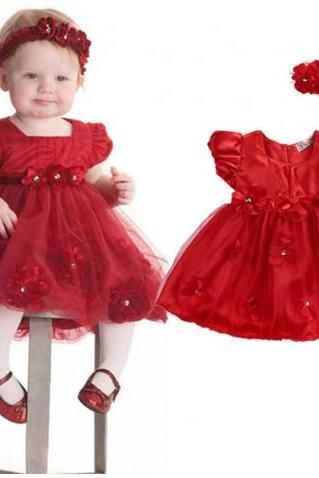 2019 Red Floral Newborn Red Dress for Newborn Girls Matching Red Baby Headband