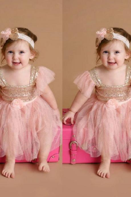 2019 Little Princess Dress Infant Girls Ballgown Dress Matching Golden Headband