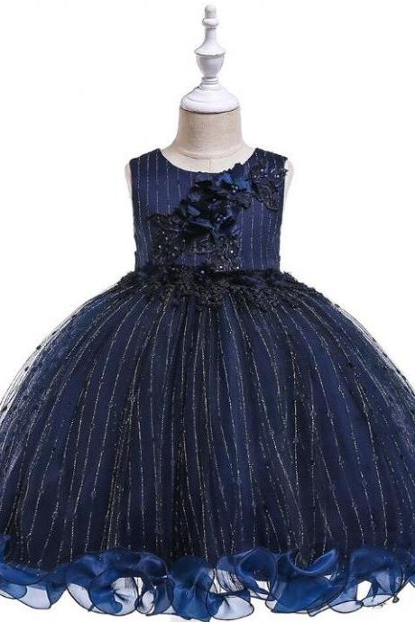 Curly Twirly Ends Navy Blue Dress for Tween Girls with FREE SILVER Tiara Sleeveless Formal Dress for Girls