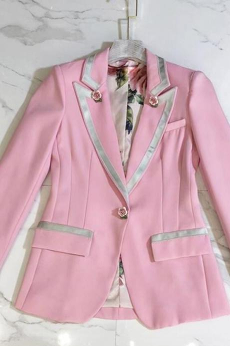 Free Shipping Pink Blazers for Women Breast Cancer Awareness Gift Super Quality Pink Jackets for Women