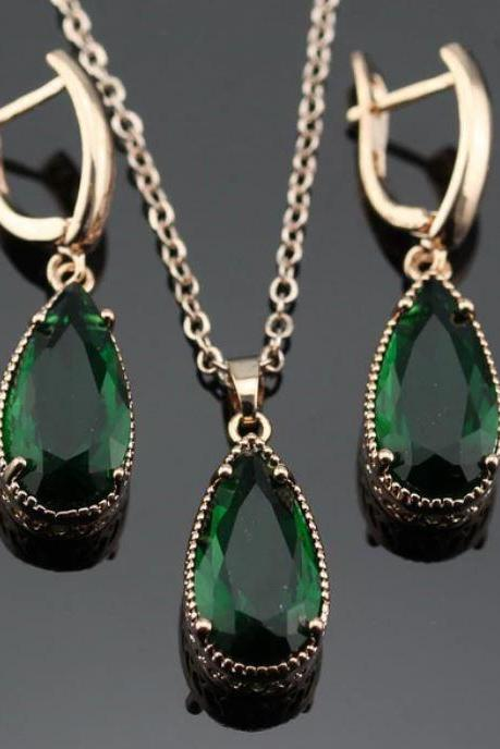 Gemstones Green Rose Gold Grade AAA Zircon Jewelries Drop Earrings for Women Luxury Gold Necklace