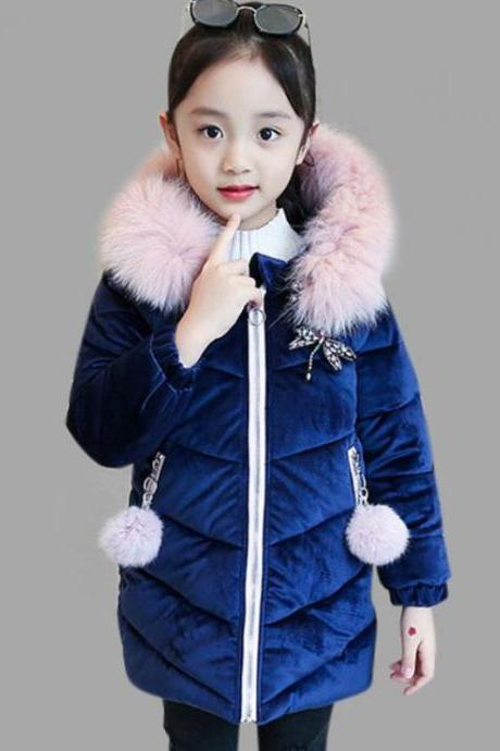 RSS Boutique Toddler Girls Dark Blue Parkas Dragonfly Patchwork Corsage Velvet Super Warm Jackets