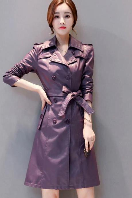 RSS Boutique Purple Leather Trench Coats True Color Sheepskin Coats