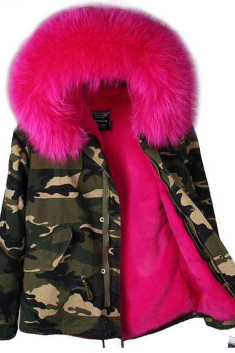 New Arrival RSS Boutique Hot Pink Coat Warm Camouflage Thick Parka Detachable Fox Fur Winter Jacket