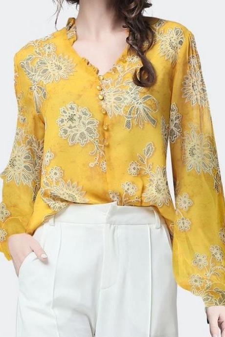 Beautiful Tops for Lady Yellow Blouse Button Up Cowgirl Women RSS Boutique Vintage Blouses