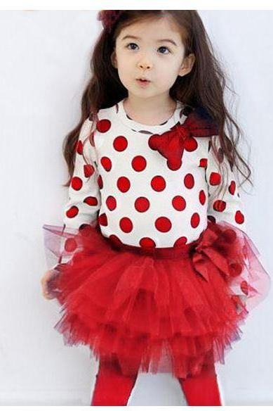 Red Clothing Set for Toddler Girls White Tees and Ready to Ship Red Polka Dots Legging Skirt for Girls