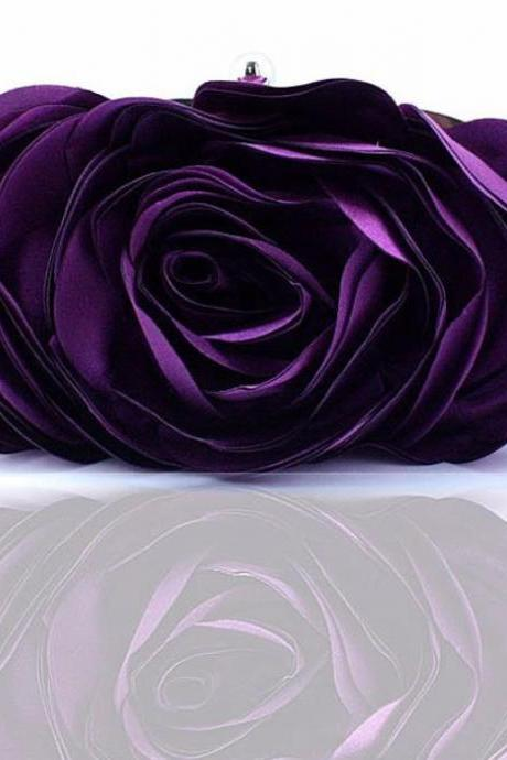 Purple Clutch for Women Purple Evening Purses for Bridesmaids Big Rose Satin Bags
