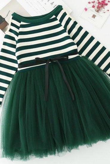 Super Green Dress for Girls Green Tutu Dress Fashion Dresses for Girls Thicker Cotton Long Sleeves