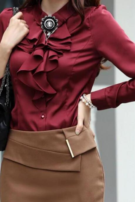 Burgundy Blouses for Women Vintage Ruffled Tops Unique Collar FREE SHIPPING Formal Red Blouses