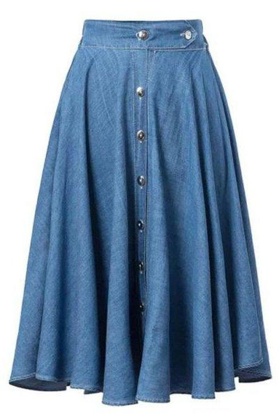 Denim Skirts Denim Knee Length A-Line Skirt Featuring Button Ready to Ship Denim Fashion Skirts for Women