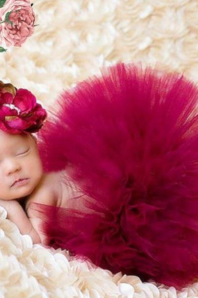 Fashion Skirts for Newborn Girls Red Tutu Skirts with matching Wide Floral Headband Props