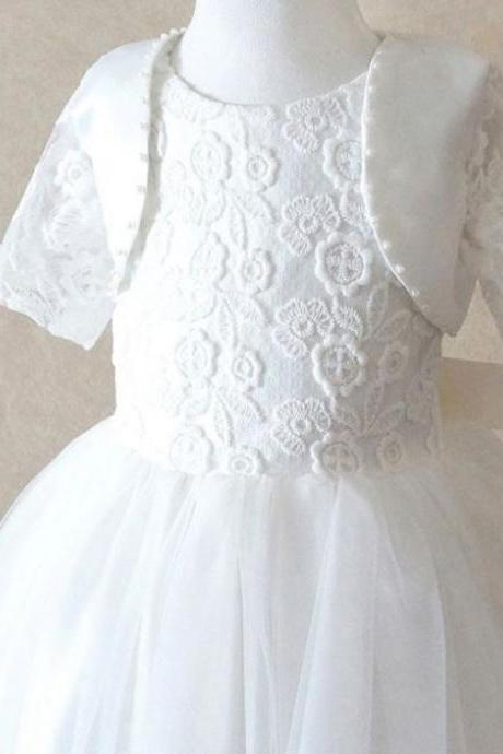 MUST GO Girls White Dress for Flower Girls with Lace Bolero or Shrug Christening White Dress for Toddler Girls
