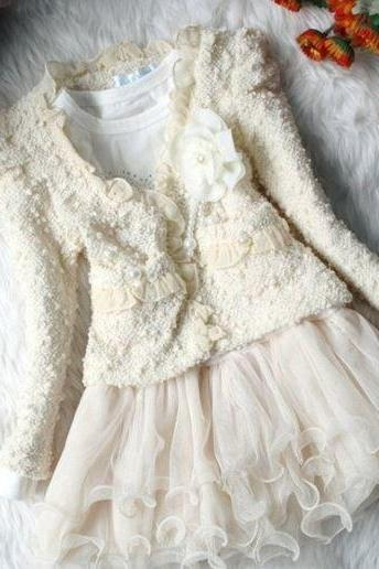 2 Pieces Ivory Cropped Jacket with matching White Tutu Dress Ivory Tulle FREE Ivory Headband