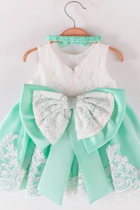 New Pageant Dress for Girls Birthday Event Lacy Dresses 12 Months Mintgreen Girls Dresses FREE SHIPPING with FREE Headband