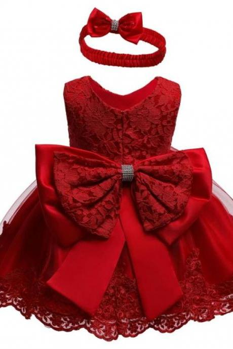 Little Princess Girls Red Dress with Red Bow Headband Jacquard Cotton Free Shipping Elegant Red First Birthday Party Dresses