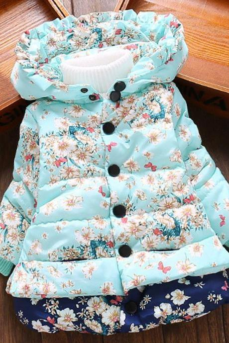 Cute Floral Winter Parka for Little Girls Hooded Down Parkas Ruffled Winter Coats for Girls