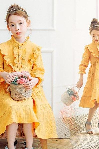 Fall Season Dress Linen Dresses Thanksgiving Dress Yellow-Orange Dress for Girls Linen Dress High Quality Cotton Ruffled Maxi Dress for Toddler Girls