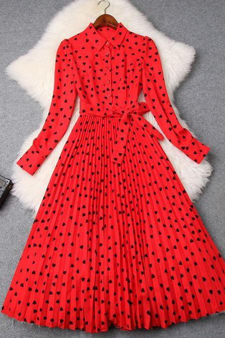 Red Collared Dress Fashion Red Maxi Dress for Women Launching Modesty Outfit for Elegant Lady