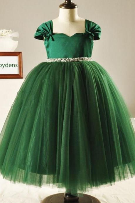 FREE TIARA for Ballgown Green Christmas Dress for Toddler Girls Elegant Green Dress Luxury Dresses
