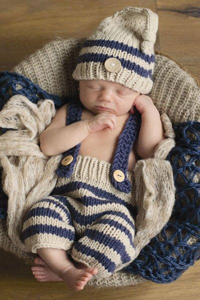 Newborn Boys Props Photography Props Boys Beige Hat Matching Boys Pant Navy Blue Hats