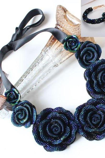 Chunky Floral Necklace Statement All Match Navy Blue Flower Chokers for Women