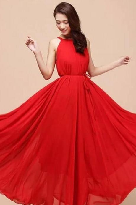Christmas and Thanksgiving Bridesmaids Dresses for Women Vintage Ruffled Red Maxi Dress For Women