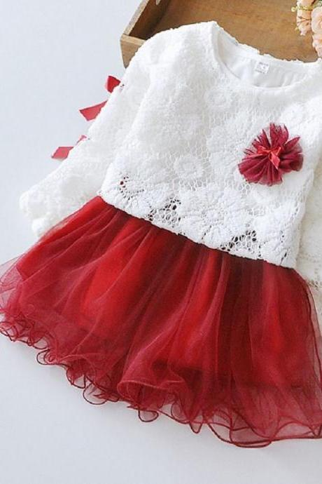 Girls Red Dress with White Hollow Out Shrug Long Sleeve Tutu Dress Pretty Deep Red Tutu Dress