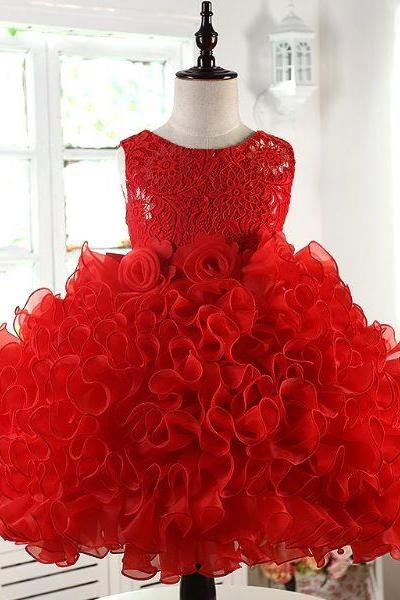 Red Swirls and Twirls Formal Wear Red Rose Floral Dress Sleeveless Dress for Girls - FREE SILVER TIARA