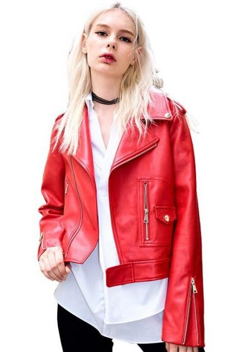 Red Leather Jacket Twining Emma Swan from Once Upon a Time Fashion Leather Jackets for Women