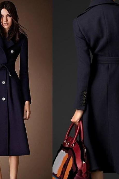 FREE SHIPPING! Navy Blue Coat for Women-Winter Trench Coats for Women Navy Blue Long Overcoats