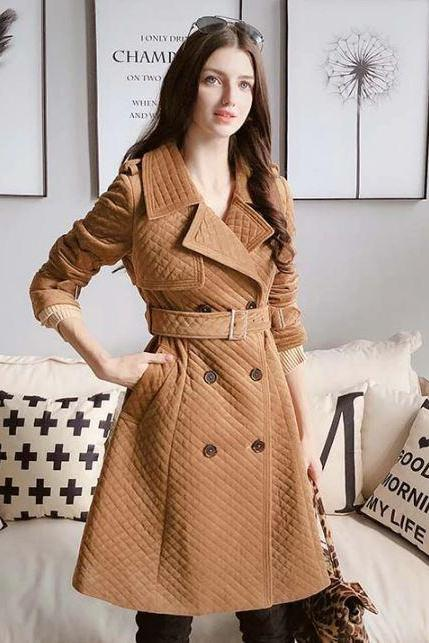 Brown Winter Wool Coats for Women is READY FOR SHIPPING-FREE DESIGNER BROOCH and Fur Scarf