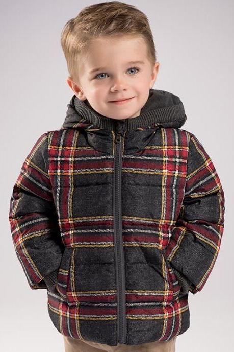 Brown Down Duck Jacket Coat for Toddler Boys Cotton Padded Fur with Hood Jacket