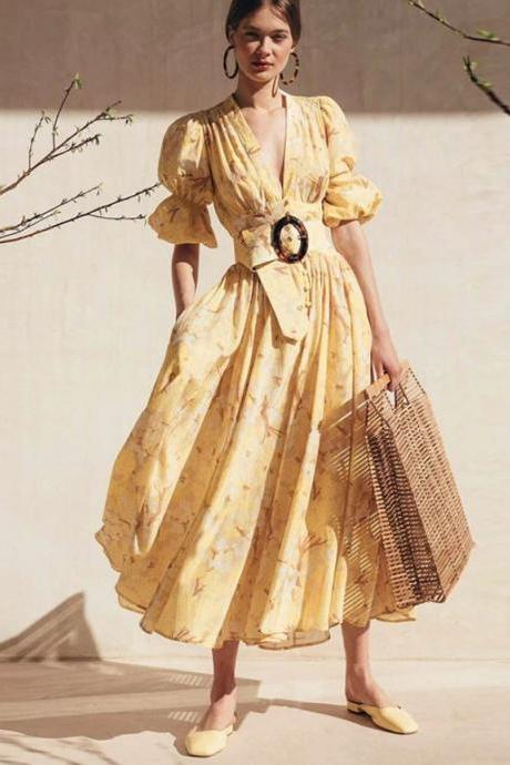 RSS Boutique New Trend Ruffled Vintage Maxi Dress Fancy Yellow Dress for Women