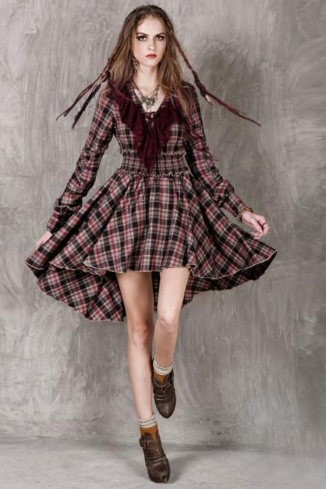 Ready to Ship Medium Size Dresses Plaid Dress for Women Ruffled Ruffled Vintage Dress for Women