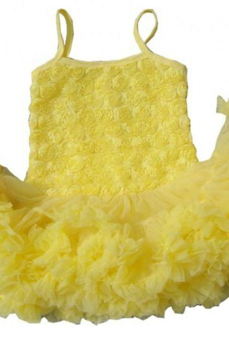 SALE! Ready to Ship Yellow Tutu Dress for Infant Girls with FREE Headband Free Shipping