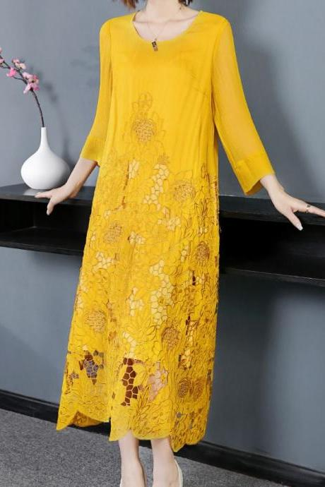 Plus Size Clothing for Women Ruffled Yellow Dress with Yellow Belt