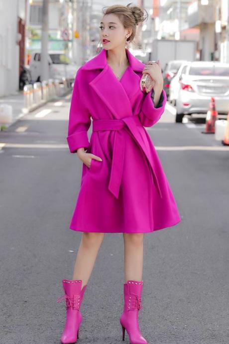 Plus Size 18 Warm Rose Pink Trench Coats for Fashion Women Gala Night Fashion Premiere Runaway Bright Pink Coats