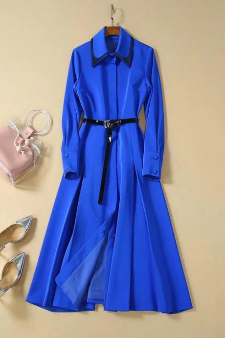 High Quality Royal Blue Trench Coats Dress Royalty Princesses Clothing Elegant Women's Fashion Dress Coats