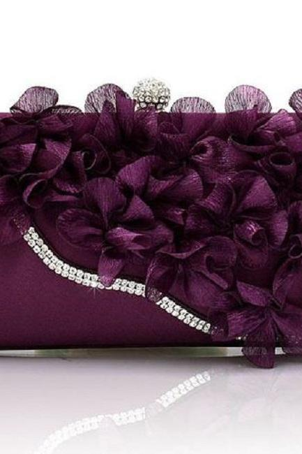 New Clutches for Women PURPLE Purses for Women-Make Up Bags for Women-Floral Bridesmaids Bags-Trendy Clutches