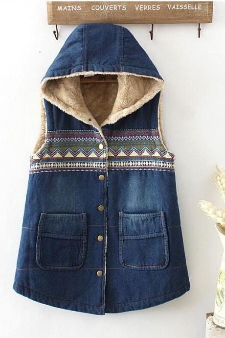 Hooded Denim Vests for Women Very Thick Warm Wool Lining Perfect for Winter Snowy Weather Denim Jackets