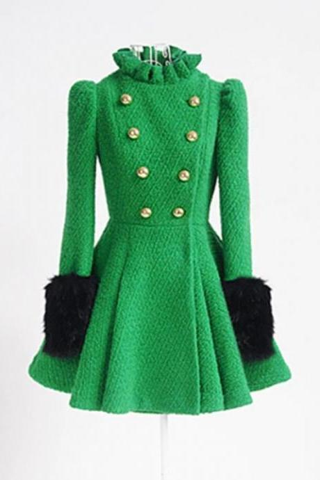 RSS Boutique Wool Princesses Dress Coats Pretty Green Trench Coats with Ruffles and Laces