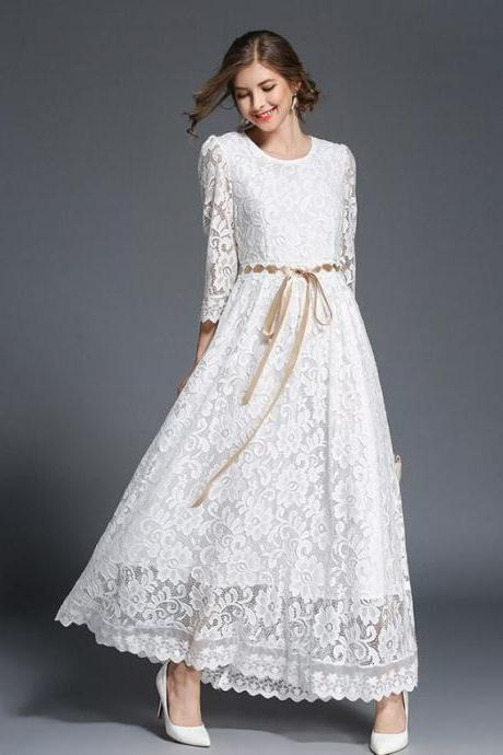 ON SALE! Medium White Bridal Dress Lacy Bridesmaids Maxi Dresses Fashion White Dress for Women