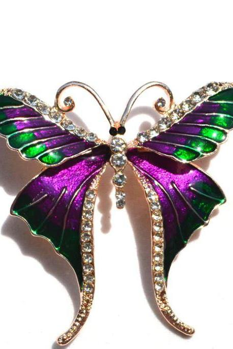 Minimalist Purple Brooch Butterfly Pattern Purple Butterflies Pin Clothes Brooches for Women