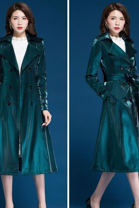 Unique Color Trench Coats for Elegant Women Princesses Style New Fashion Clothes Teal Blue Green Trench Coats