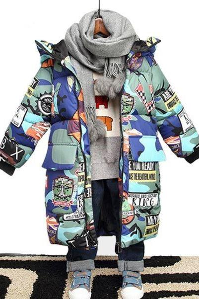 Graffiti Winter Coats for Toddler Boys True to Size Fashion Cotton Duck Down Printed Cars, Dinos, Flags Camouflage Jackets for Boys