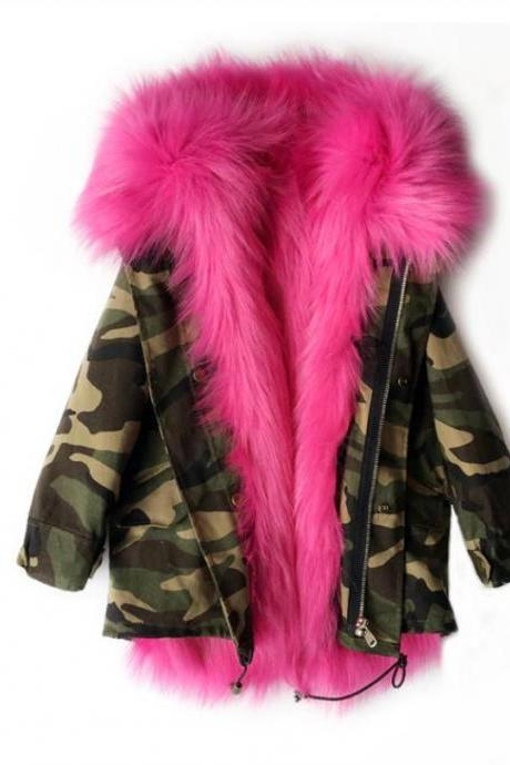 Camouflage Winter Jackets for Girls Butterfly Effect Hooded Fur Jackets Parkas for Toddler Girls with FREE Black Leggings